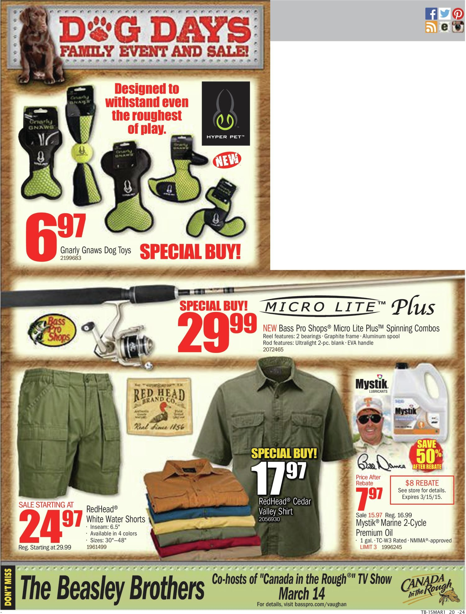 96bbd8fd Bass Pro Shops Weekly Flyer - Dog Days Family Event & Sale! - Mar 2 – 15 -  RedFlagDeals.com