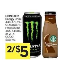 Monster Energy Drink, Starbucks Frappuccino Or Vita Coco