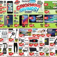 Factory Direct - Ginormous Savings Event Flyer