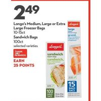 Longo's Medium, Large or Extra Large Freezer Bags Sandwich Bags