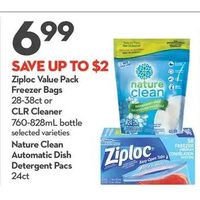 Ziploc Value Pack Freezer Bags or Clr Cleaner Nature Clean Automatic Dish Detergent Pacs
