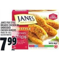 Janes Pub Style Breaded Chicken or Unbreaded Chicken Burgers