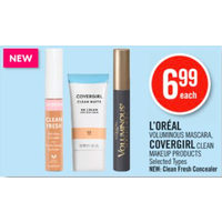 L'Oreal Voluminous Mascara, Covergirl Clean Makeup Products, New: Clean Fresh Concealer