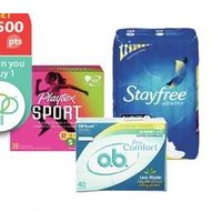 Stayfree Pads or Liners or Playtex or O.B. Tampons