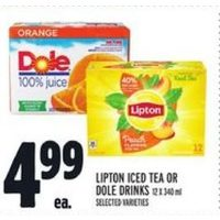 Lipton Iced Tea or Dole Drinks