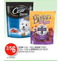Cesar, Beggin's Strips Or Dentalife Dog Treats