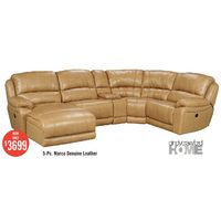 Cindycrawford Home 5-Pc. Macro Genuine Leather Power Reclining Sectional