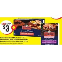 Schneiders Sliced Meats, Oktoberfest, Mini Sizzlers Or Breakfast Rounds, Ham Steak