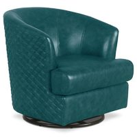 Abbyson Leola Genuine Leather Swivel Accent Chair