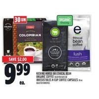 Kicking Horse Or Ethical Bean Organic Coffee Or Irresistibles K-Cup Coffee Capsules