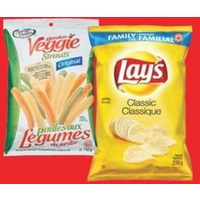 Lay's Family Size Potato Chips or Poppables Sensible Portions Veggie Straws