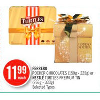 Ferrero Rocher Chocolates Or Nestle Turtles Premium Tin