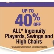 All Ingenuity Playards, Swings And High Chairs - Up to 40% off