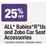 All Babies R Us and Zobo Car Seat Accessories - 25% off