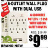 6-Outlet Wall Plug with Dual USB - $9.99