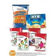 Compliments Bagged Candy, Macaroons Or Choco Drops Or Snacks Or ACT II Microwave Popcorn - $1.00