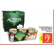 Activia Probiotic Or Fibre Top Yogurt - 2/$7.00