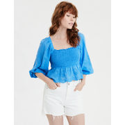Ae Square Neck Smocked Peasant Top - $22.49 ($32.46 Off)