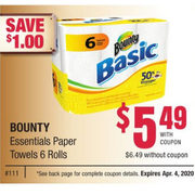 Bounty Essentials Paper Towels - $5.49/with coupon ($1.00 off)