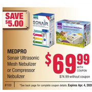 Medpro Soniair Ultrasonic Mesh Nebulizer Or Compressor Nebulizer - $69.99/with coupon ($5.00 off)